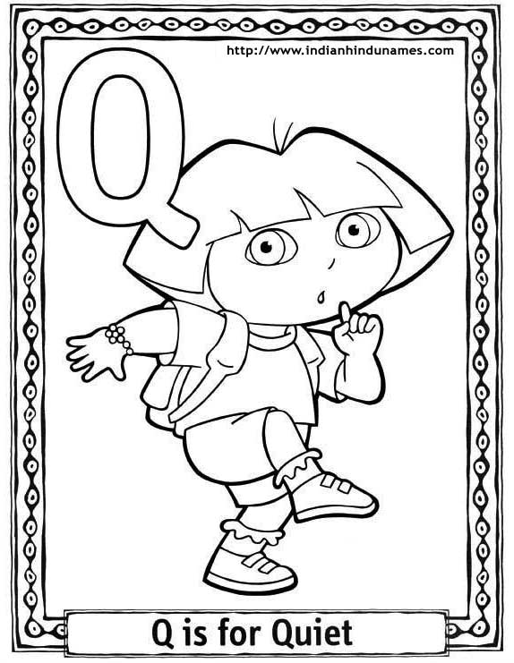 Cartoons alphabets coloring sheets coloring pages dora for Q coloring pages