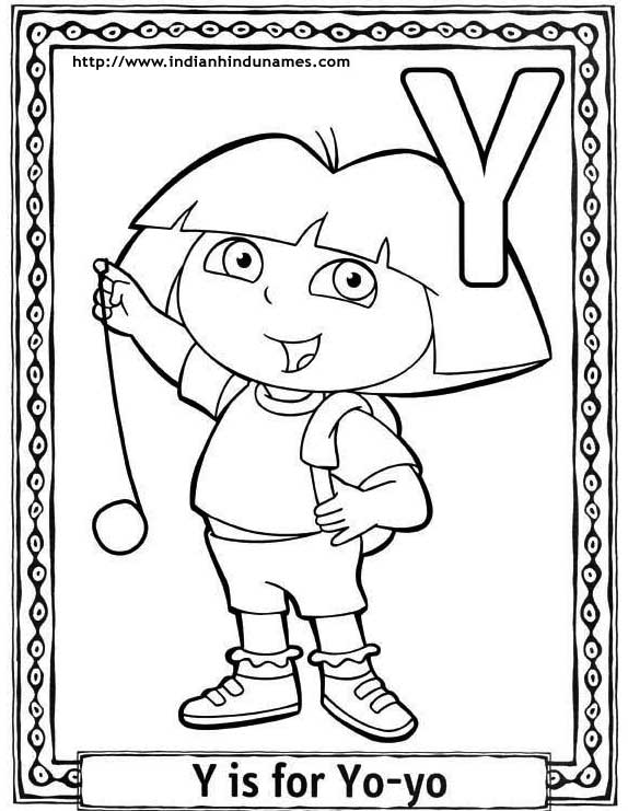 Cartoons alphabets coloring sheets coloring pages dora for Letter y coloring pages